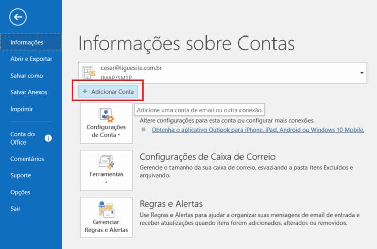 Configuração avançada do Outlook