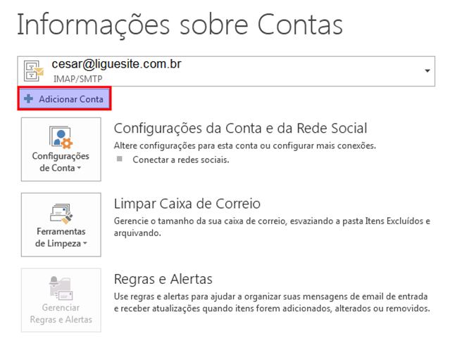 Tela do Outlook