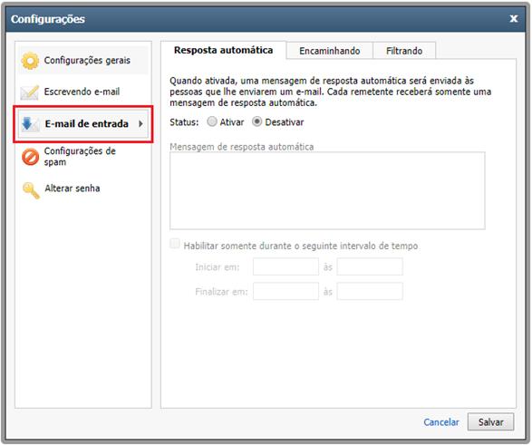 Tela de configuração do Outlook