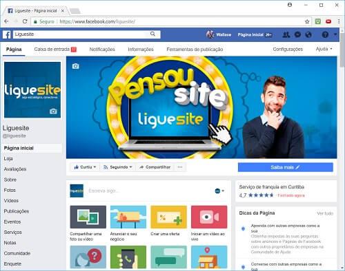 como criar um site - Facbook da Liguesite